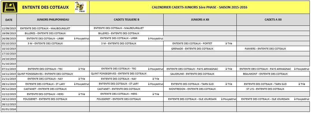 Calendrier cadets juniors1