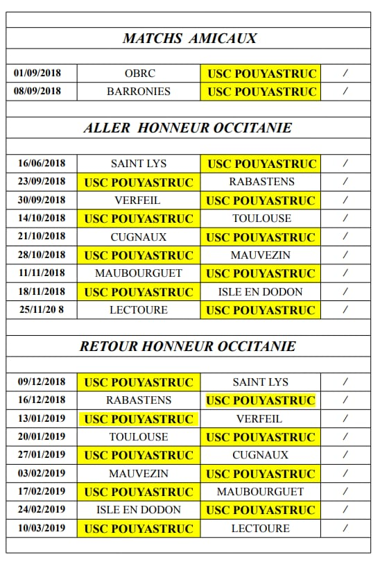 Calendrier uscp 2018 2019